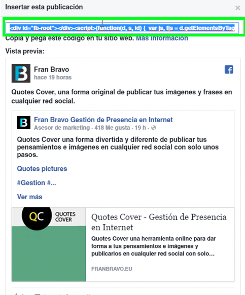Enlace a un post de Facebook - Fran Bravo Gestión de presencia en internet - Social Media - Community Manager - Blog - Villena - Alicante