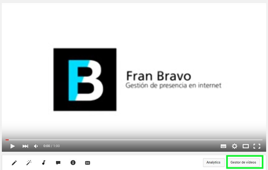 Opciones You Tube - Fran Bravo Gestión Presencia Internet - Social Media - Community Manager - Blog - Blogs - Blogger - Villena - Alicante